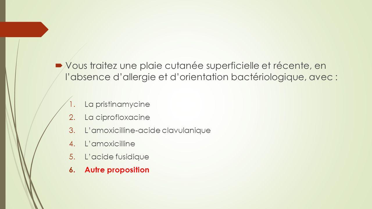 Vous traitez une plaie cutanée superficielle et récente, en labsence dallergie et dorientation bactériologique, avec : 1.La pristinamycine 2.La ciprof