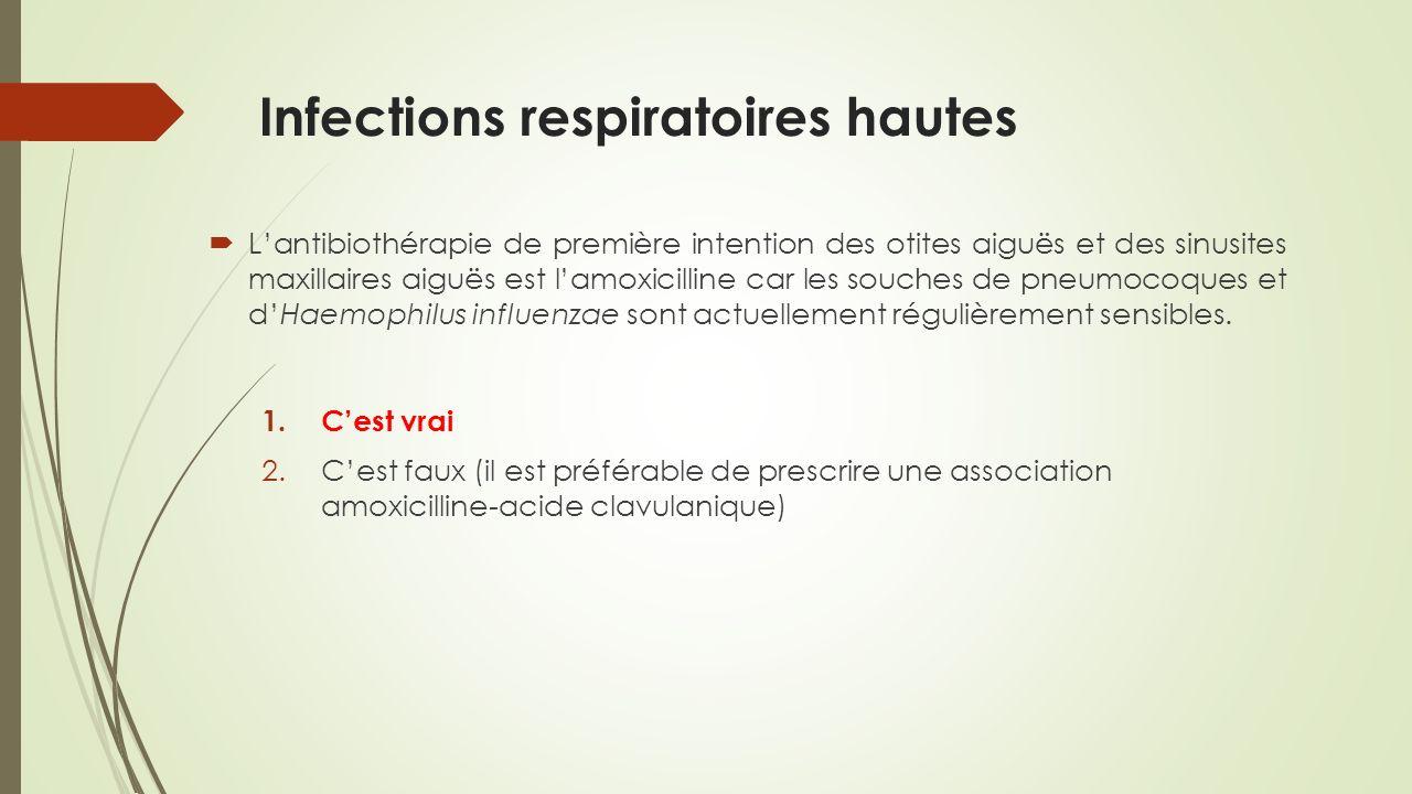 Antibiothérapie : prélèvements Indication de traitement antibiotique 1) prélèvement à visée microbiologique 2) antibiothérapie probabiliste 3) adaptation du traitement (48-72h) évolution favorable lantibiothérapie initiale doit être poursuivie en cas de prescription initiale de molécules à spectre large (couverture des SARM et/ou des BGN multirésistants) alors que ces pathogènes nont pas été isolés dans les prélèvements : désescalade thérapeutique vers des molécules à spectre plus étroit