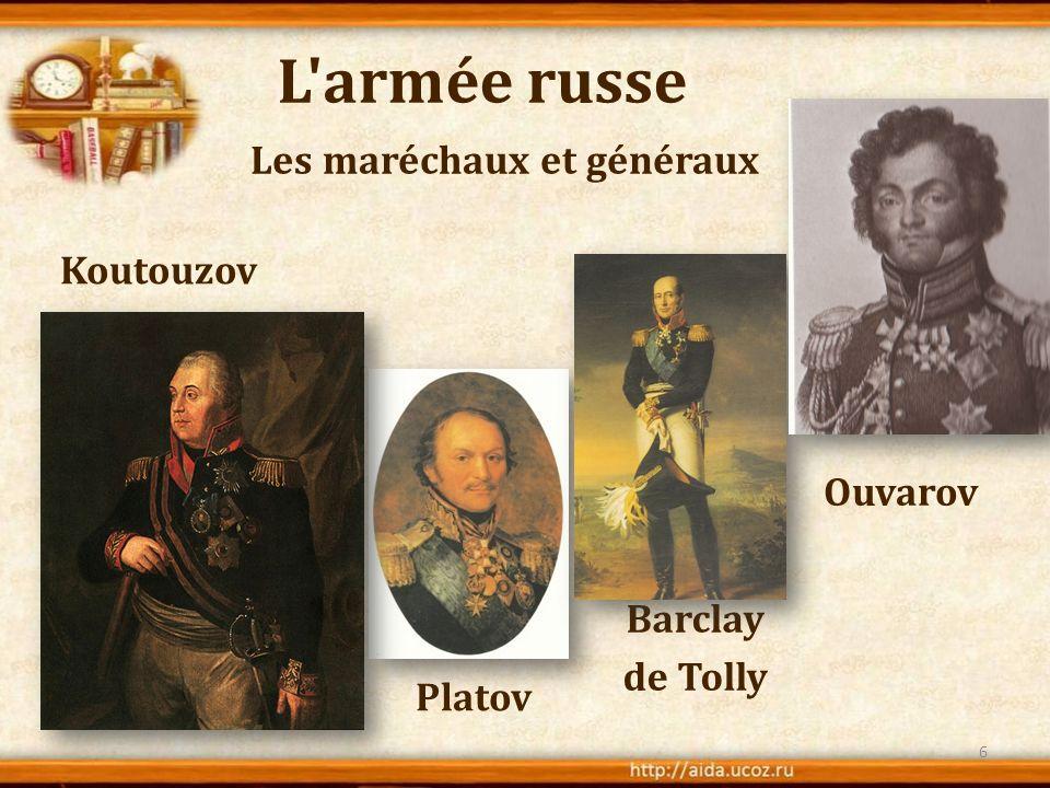 L'armée russe Koutouzov Les maréchaux et généraux 6 Ouvarov Platov Barclay de Tolly