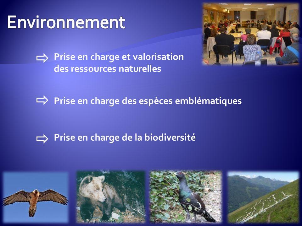 Prise en charge et valorisation des ressources naturelles Prise en charge des espèces emblématiques Prise en charge de la biodiversité