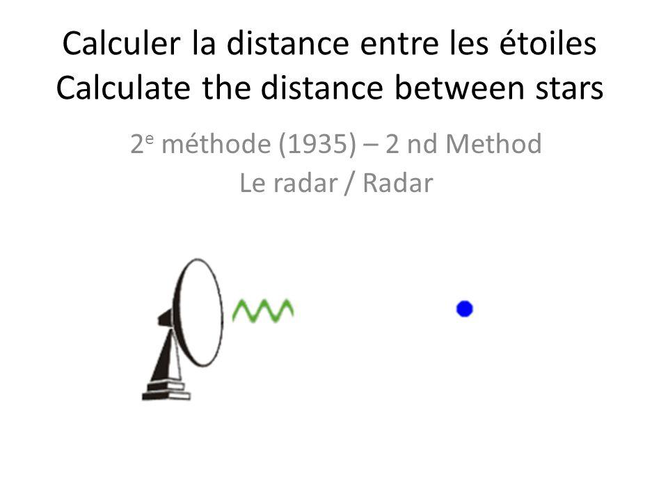 Calculer la distance entre les étoiles Calculate the distance between stars 2 e méthode (1935) – 2 nd Method Le radar / Radar
