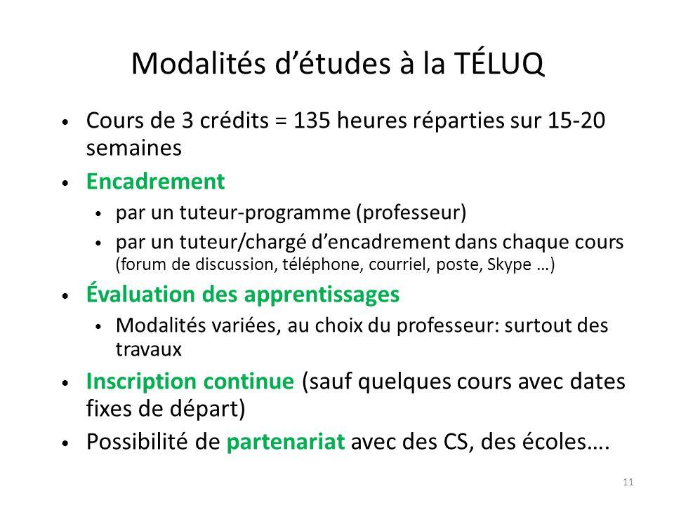 Modalités détudes à la TÉLUQ Cours de 3 crédits = 135 heures réparties sur 15-20 semaines Encadrement par un tuteur-programme (professeur) par un tute