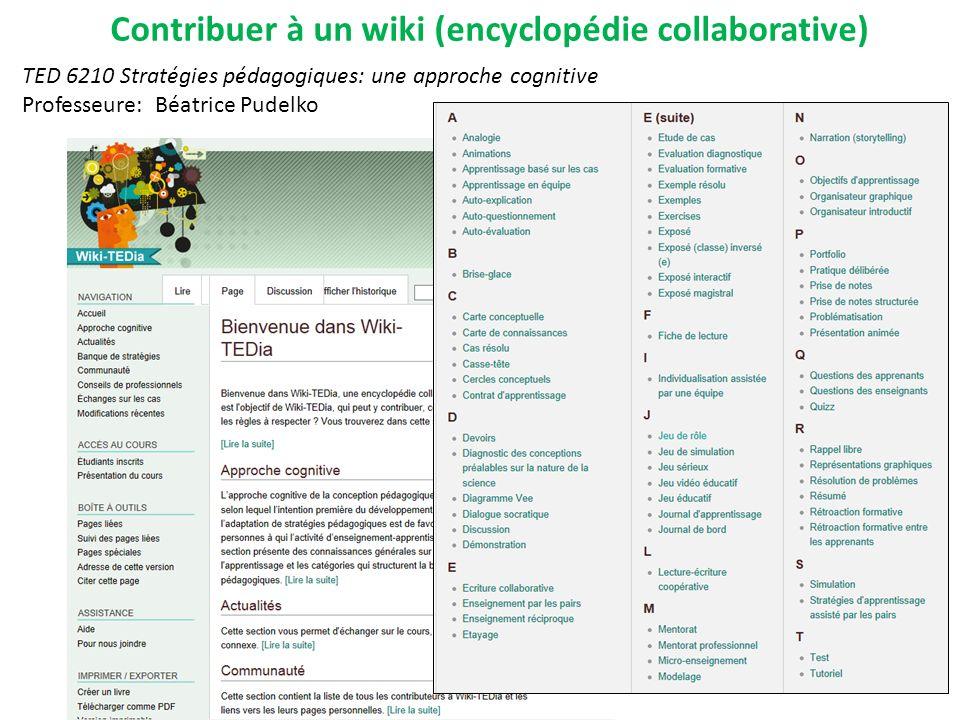 Contribuer à un wiki (encyclopédie collaborative) TED 6210 Stratégies pédagogiques: une approche cognitive Professeure: Béatrice Pudelko