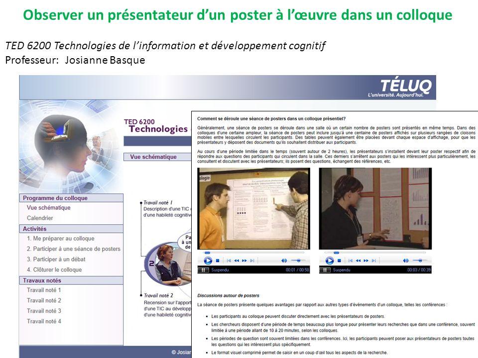 TED 6200 Technologies de linformation et développement cognitif Professeur: Josianne Basque Observer un présentateur dun poster à lœuvre dans un collo