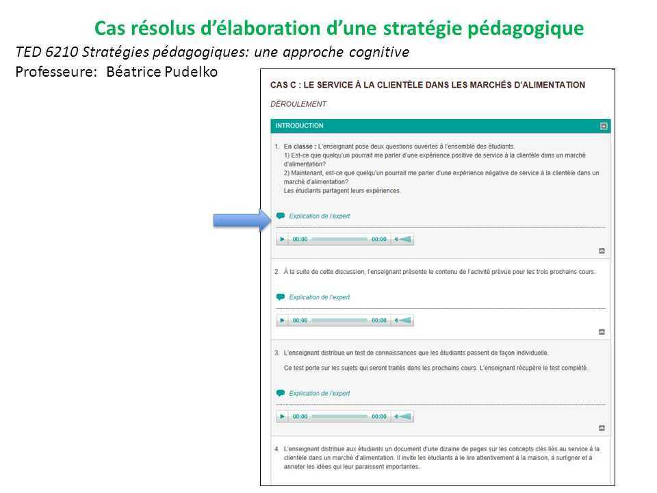 Cas résolus délaboration dune stratégie pédagogique TED 6210 Stratégies pédagogiques: une approche cognitive Professeure: Béatrice Pudelko