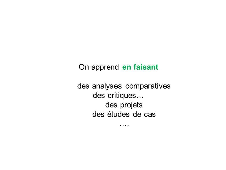 On apprend en faisant des analyses comparatives des critiques… des projets des études de cas ….