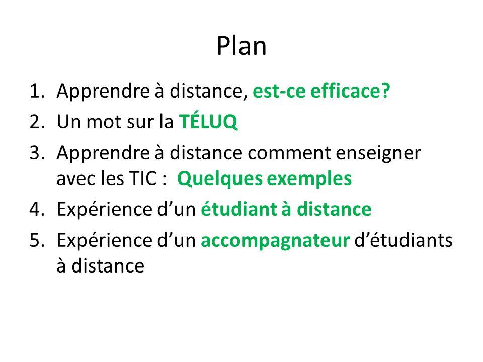 Plan 1.Apprendre à distance, est-ce efficace? 2.Un mot sur la TÉLUQ 3.Apprendre à distance comment enseigner avec les TIC : Quelques exemples 4.Expéri