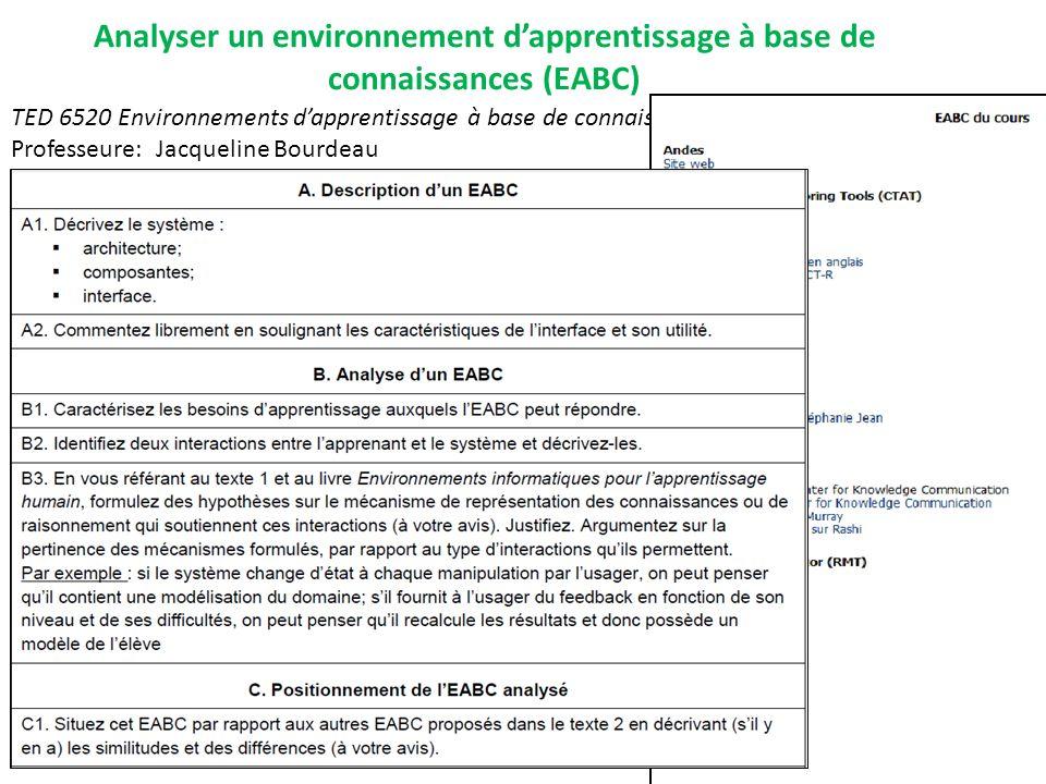 TED 6520 Environnements dapprentissage à base de connaissances Professeure: Jacqueline Bourdeau Analyser un environnement dapprentissage à base de con