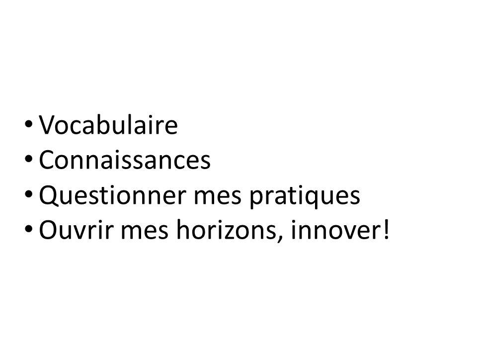 Vocabulaire Connaissances Questionner mes pratiques Ouvrir mes horizons, innover!