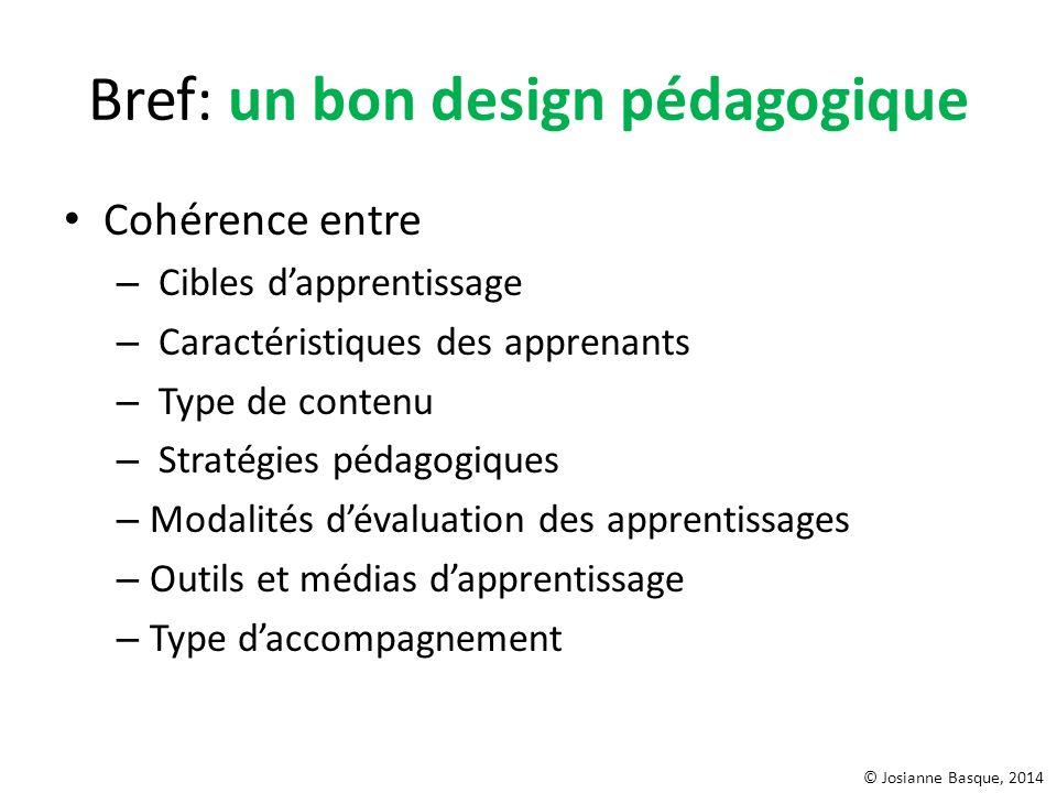 Bref: un bon design pédagogique Cohérence entre – Cibles dapprentissage – Caractéristiques des apprenants – Type de contenu – Stratégies pédagogiques