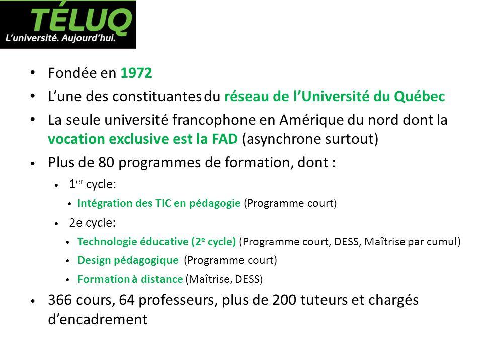 Fondée en 1972 Lune des constituantes du réseau de lUniversité du Québec La seule université francophone en Amérique du nord dont la vocation exclusiv