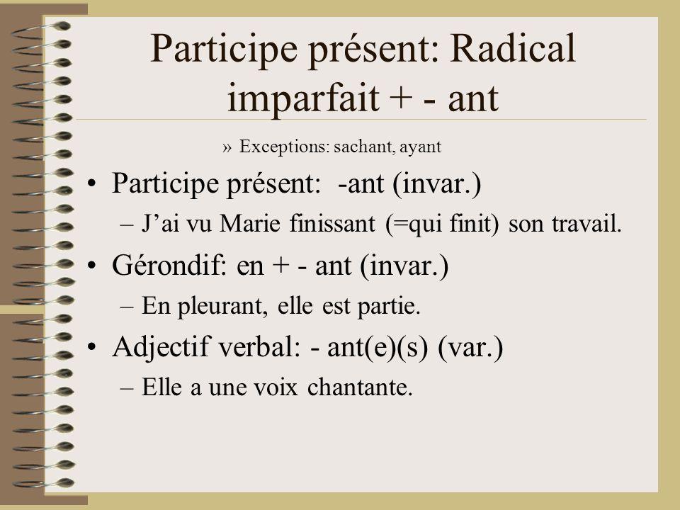 Participe présent: Radical imparfait + - ant »Exceptions: sachant, ayant Participe présent: -ant (invar.) –Jai vu Marie finissant (=qui finit) son tra