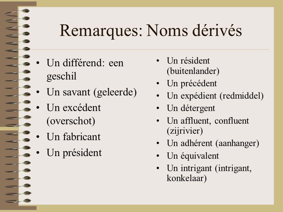 Remarques: Noms dérivés Un différend: een geschil Un savant (geleerde) Un excédent (overschot) Un fabricant Un président Un résident (buitenlander) Un