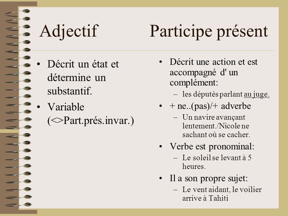 Adjectif Participe présent Décrit un état et détermine un substantif. Variable (<>Part.prés.invar.) Décrit une action et est accompagné d' un compléme