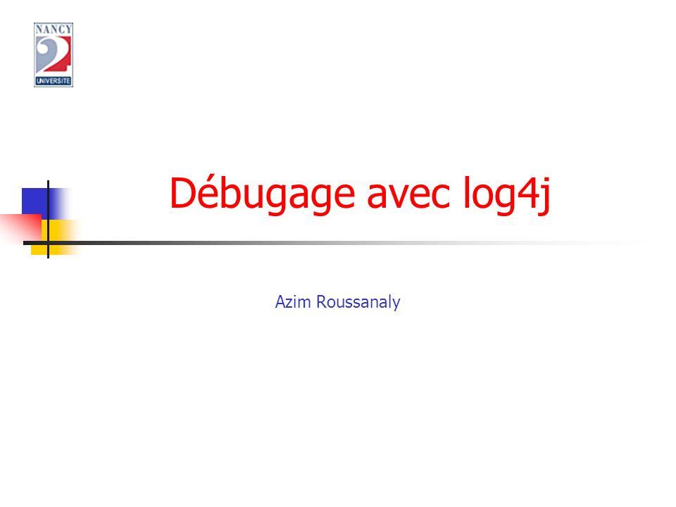 Miage SID2 Principe Programme Java avec des traces log4j.properties exécution.log +