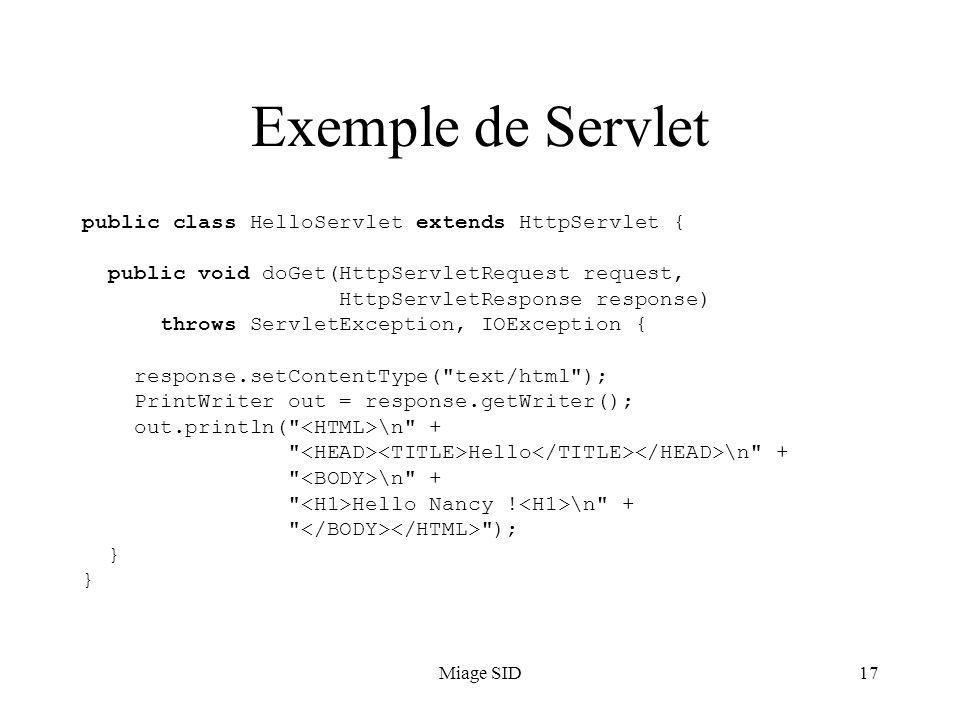 Miage SID17 Exemple de Servlet public class HelloServlet extends HttpServlet { public void doGet(HttpServletRequest request, HttpServletResponse response) throws ServletException, IOException { response.setContentType( text/html ); PrintWriter out = response.getWriter(); out.println( \n + Hello \n + \n + Hello Nancy .