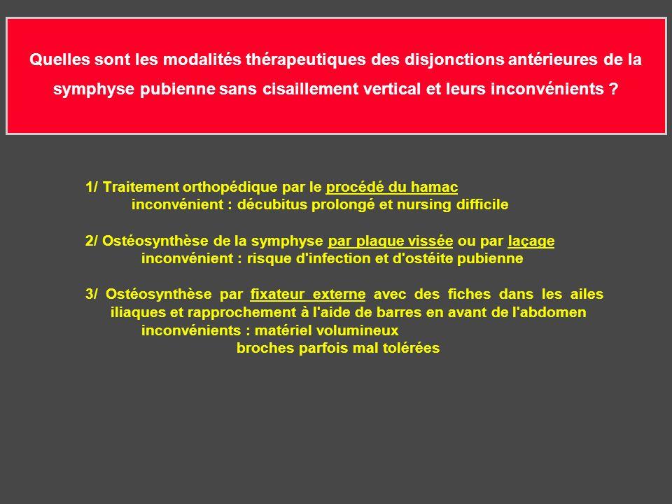 Quelles sont les modalités thérapeutiques des disjonctions antérieures de la symphyse pubienne sans cisaillement vertical et leurs inconvénients .