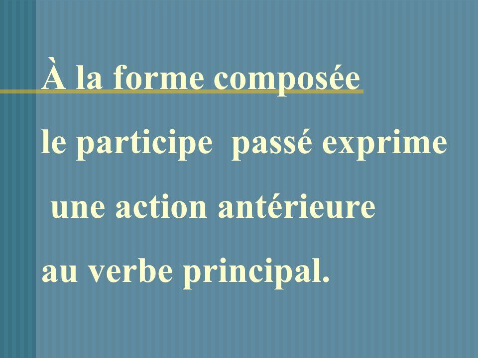 À la forme composée le participe passé exprime une action antérieure au verbe principal.