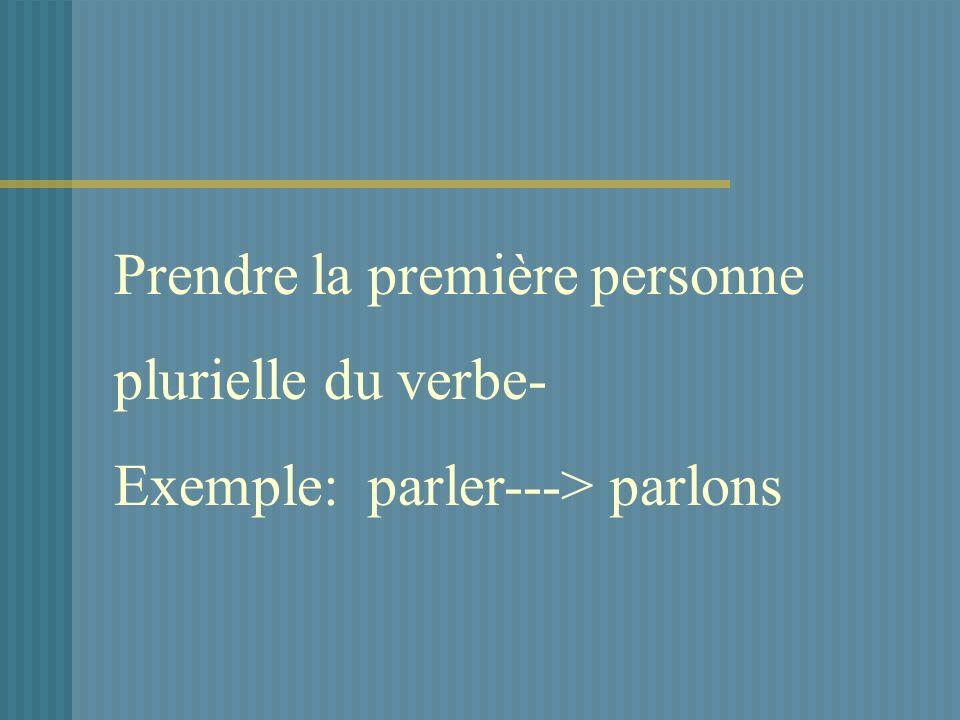 Prendre la première personne plurielle du verbe- Exemple: parler---> parlons