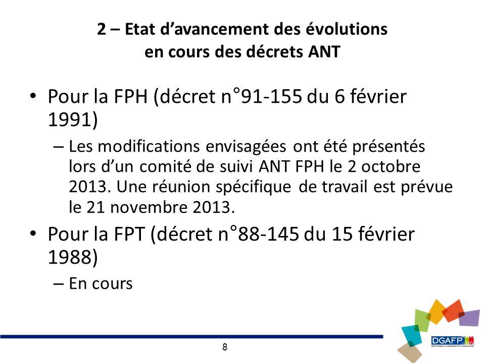 8 2 – Etat davancement des évolutions en cours des décrets ANT Pour la FPH (décret n°91-155 du 6 février 1991) – Les modifications envisagées ont été présentés lors dun comité de suivi ANT FPH le 2 octobre 2013.