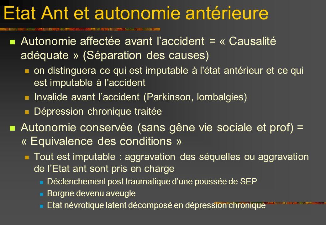 Etat Ant et autonomie antérieure Autonomie affectée avant laccident = « Causalité adéquate » (Séparation des causes) on distinguera ce qui est imputab
