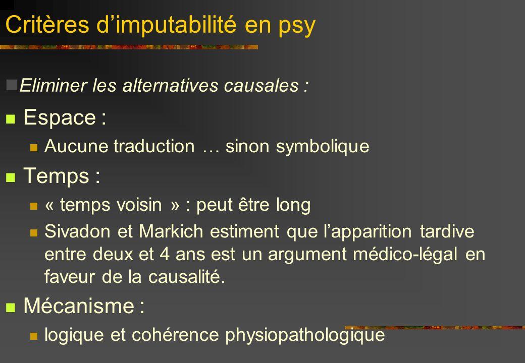 Critères dimputabilité en psy Espace : Aucune traduction … sinon symbolique Temps : « temps voisin » : peut être long Sivadon et Markich estiment que lapparition tardive entre deux et 4 ans est un argument médico-légal en faveur de la causalité.