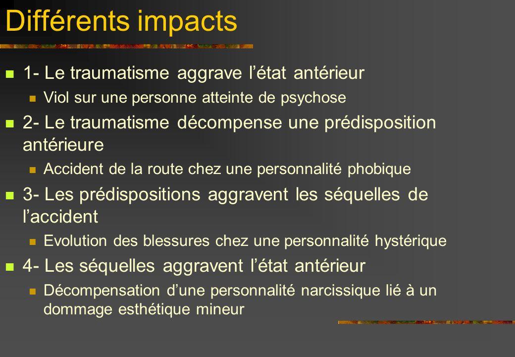Différents impacts 1- Le traumatisme aggrave létat antérieur Viol sur une personne atteinte de psychose 2- Le traumatisme décompense une prédispositio