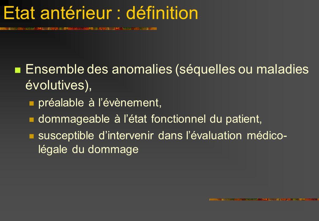 Etat antérieur : définition Ensemble des anomalies (séquelles ou maladies évolutives), préalable à lévènement, dommageable à létat fonctionnel du patient, susceptible dintervenir dans lévaluation médico- légale du dommage