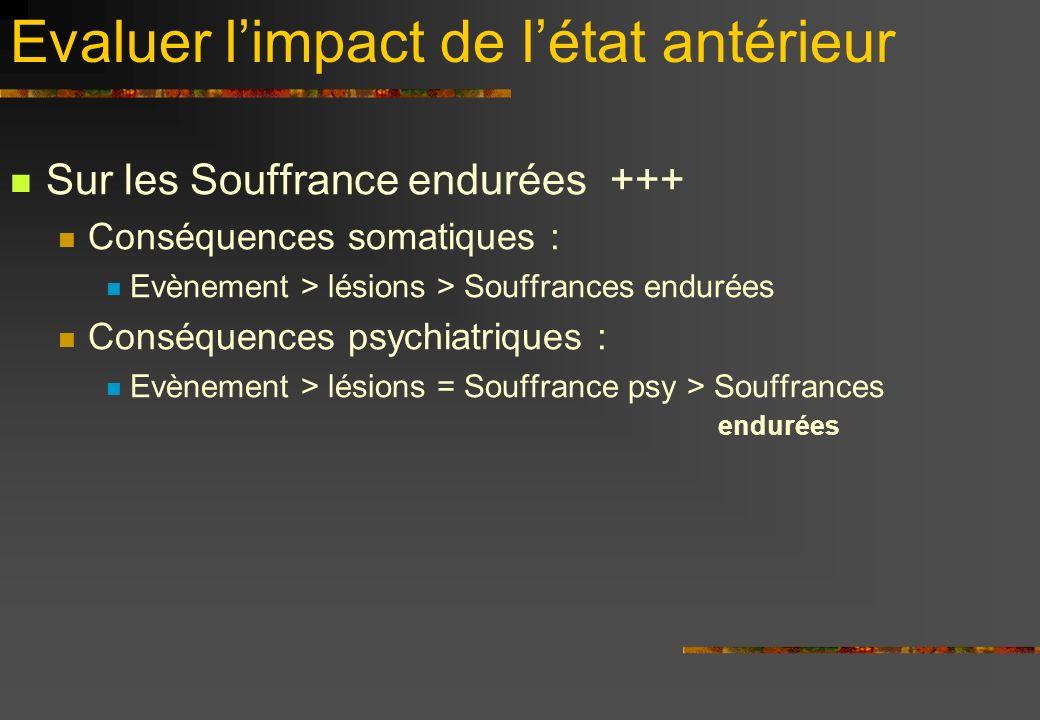 Evaluer limpact de létat antérieur Sur les Souffrance endurées +++ Conséquences somatiques : Evènement > lésions > Souffrances endurées Conséquences p