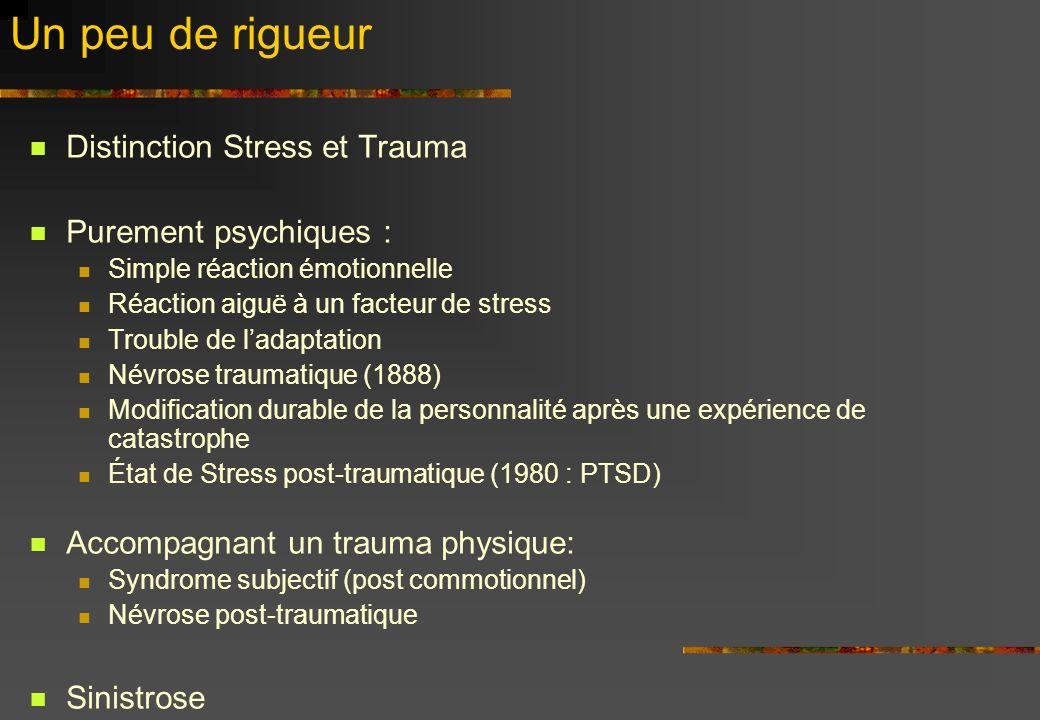 Un peu de rigueur Distinction Stress et Trauma Purement psychiques : Simple réaction émotionnelle Réaction aiguë à un facteur de stress Trouble de lad