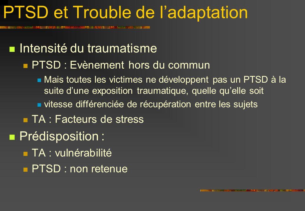 PTSD et Trouble de ladaptation Intensité du traumatisme PTSD : Evènement hors du commun Mais toutes les victimes ne développent pas un PTSD à la suite dune exposition traumatique, quelle quelle soit vitesse différenciée de récupération entre les sujets TA : Facteurs de stress Prédisposition : TA : vulnérabilité PTSD : non retenue
