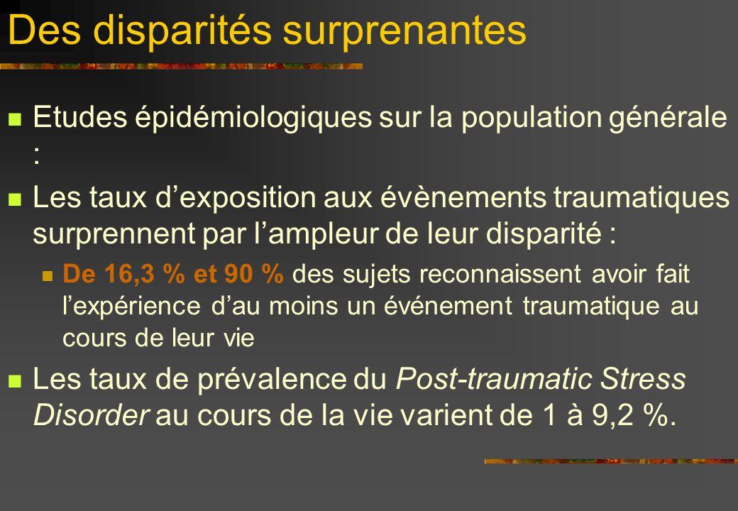 Des disparités surprenantes Etudes épidémiologiques sur la population générale : Les taux dexposition aux évènements traumatiques surprennent par lamp