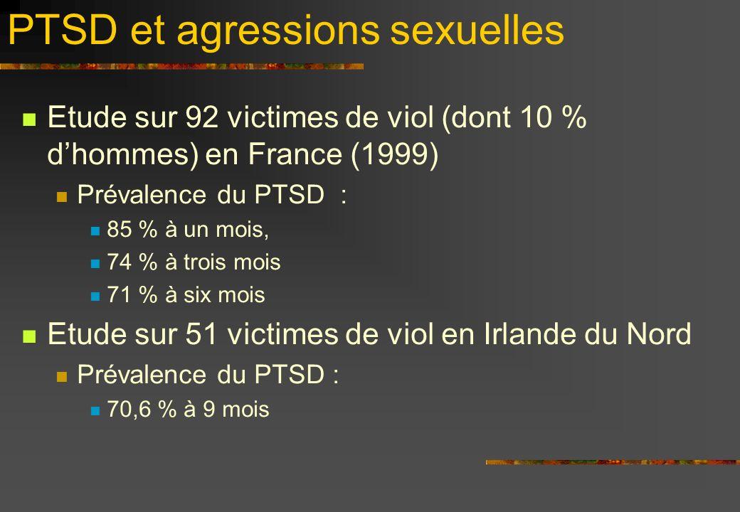 PTSD et agressions sexuelles Etude sur 92 victimes de viol (dont 10 % dhommes) en France (1999) Prévalence du PTSD : 85 % à un mois, 74 % à trois mois 71 % à six mois Etude sur 51 victimes de viol en Irlande du Nord Prévalence du PTSD : 70,6 % à 9 mois
