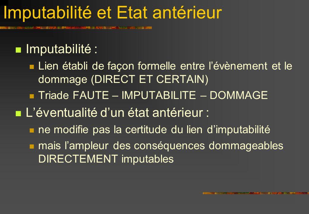 Imputabilité et Etat antérieur Imputabilité : Lien établi de façon formelle entre lévènement et le dommage (DIRECT ET CERTAIN) Triade FAUTE – IMPUTABI