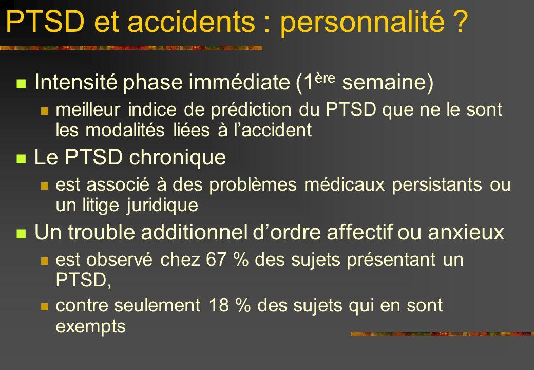 PTSD et accidents : personnalité ? Intensité phase immédiate (1 ère semaine) meilleur indice de prédiction du PTSD que ne le sont les modalités liées