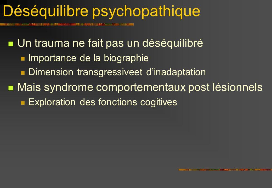 Déséquilibre psychopathique Un trauma ne fait pas un déséquilibré Importance de la biographie Dimension transgressiveet dinadaptation Mais syndrome comportementaux post lésionnels Exploration des fonctions cogitives