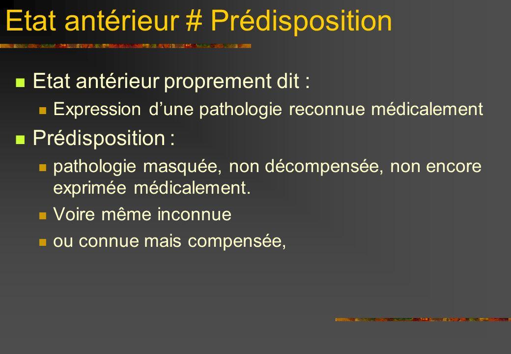 Etat antérieur # Prédisposition Etat antérieur proprement dit : Expression dune pathologie reconnue médicalement Prédisposition : pathologie masquée, non décompensée, non encore exprimée médicalement.