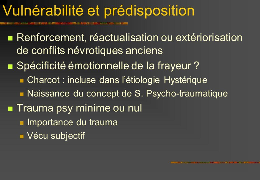 Vulnérabilité et prédisposition Renforcement, réactualisation ou extériorisation de conflits névrotiques anciens Spécificité émotionnelle de la frayeur .
