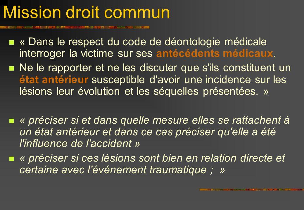 Mission droit commun « Dans le respect du code de déontologie médicale interroger la victime sur ses antécédents médicaux, Ne le rapporter et ne les d