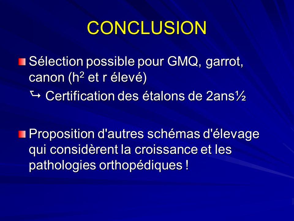 CONCLUSION Sélection possible pour GMQ, garrot, canon (h 2 et r élevé) Certification des étalons de 2ans½ Certification des étalons de 2ans½ Propositi