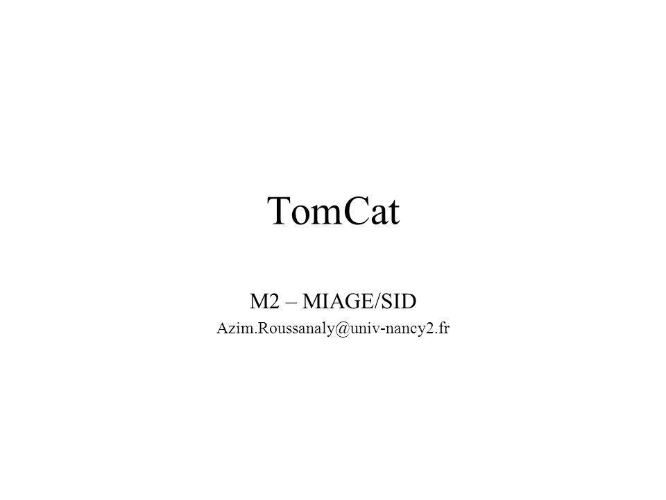 Miage SID42 Test Site de téléchargement : –http://www.coreservlets.com/Apache-Tomcat- Tutorial/tomcat6.0-files/intro-app-eclipse.zip –Ou intro-app-eclipse.zip Démarrer Eclipse : –File>Import>General>Archive… Ajouter lapplication intro au serveur –Onglet Servers>Tomcat…>Menu contextuel>Add an remove project Démarrer le serveur –Onglet Servers>Tomcat…>Menu contextuel> Tester à partir dun navigateur –http://localhost/intro/Hello.jsp