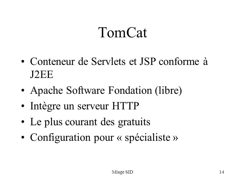 Miage SID14 TomCat Conteneur de Servlets et JSP conforme à J2EE Apache Software Fondation (libre) Intègre un serveur HTTP Le plus courant des gratuits