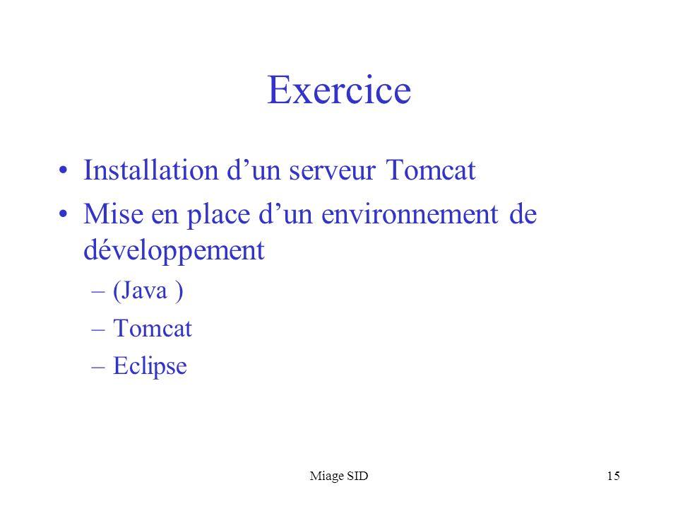 Miage SID15 Exercice Installation dun serveur Tomcat Mise en place dun environnement de développement –(Java ) –Tomcat –Eclipse