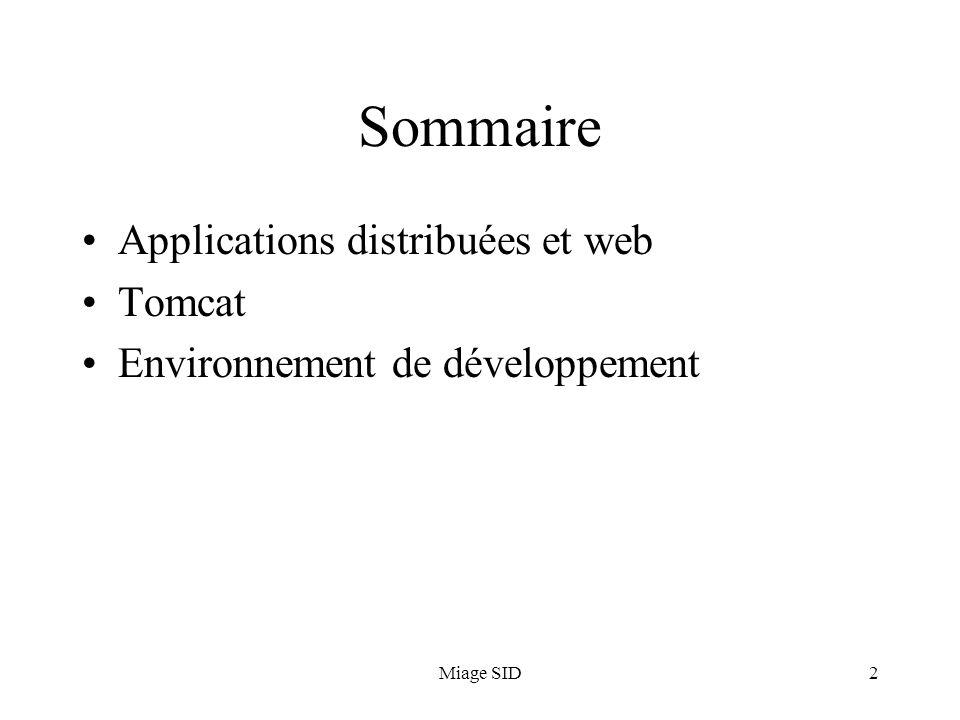 Miage SID43 Déploiement Le déploiement consiste à transférer lapplication vers le serveur TomCat dexploitation Solution simple : recopier le contenu de WebContent dans : – /webapps/ NB: généralement, on ne déploie pas les sources Solution alternative : compresser et archiver le contenu de WebContent avant la recopie Solution à distance : utiliser le deployeur (ant)