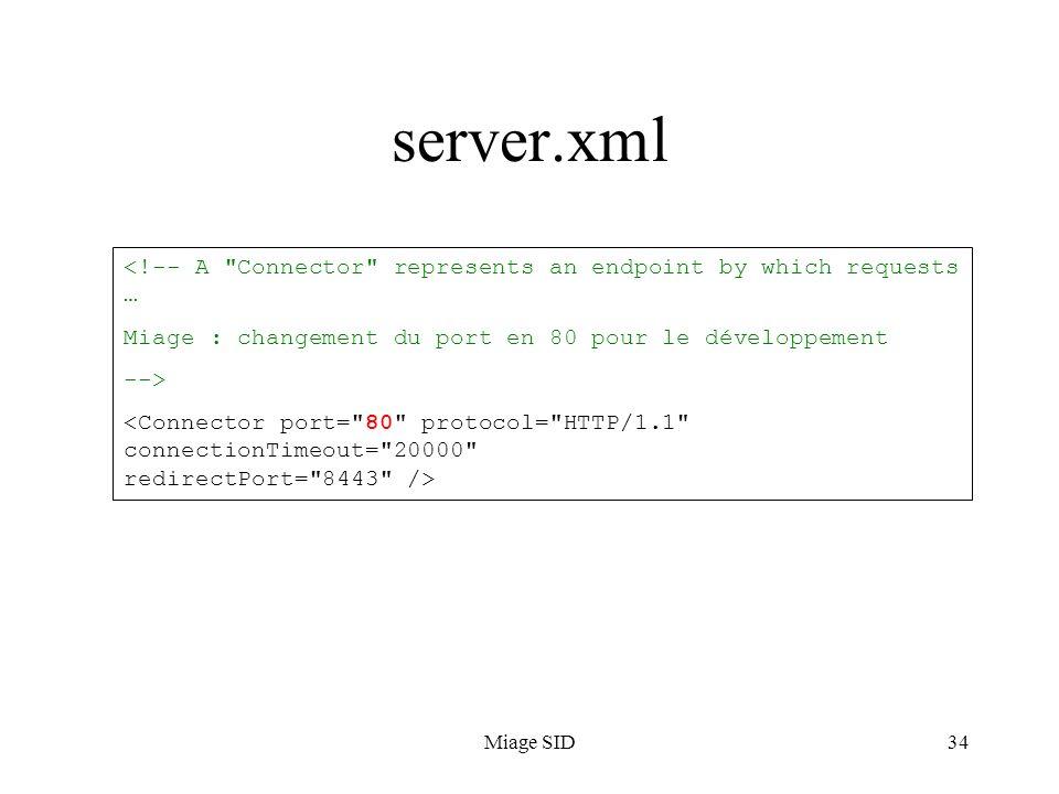 Miage SID34 server.xml <!-- A