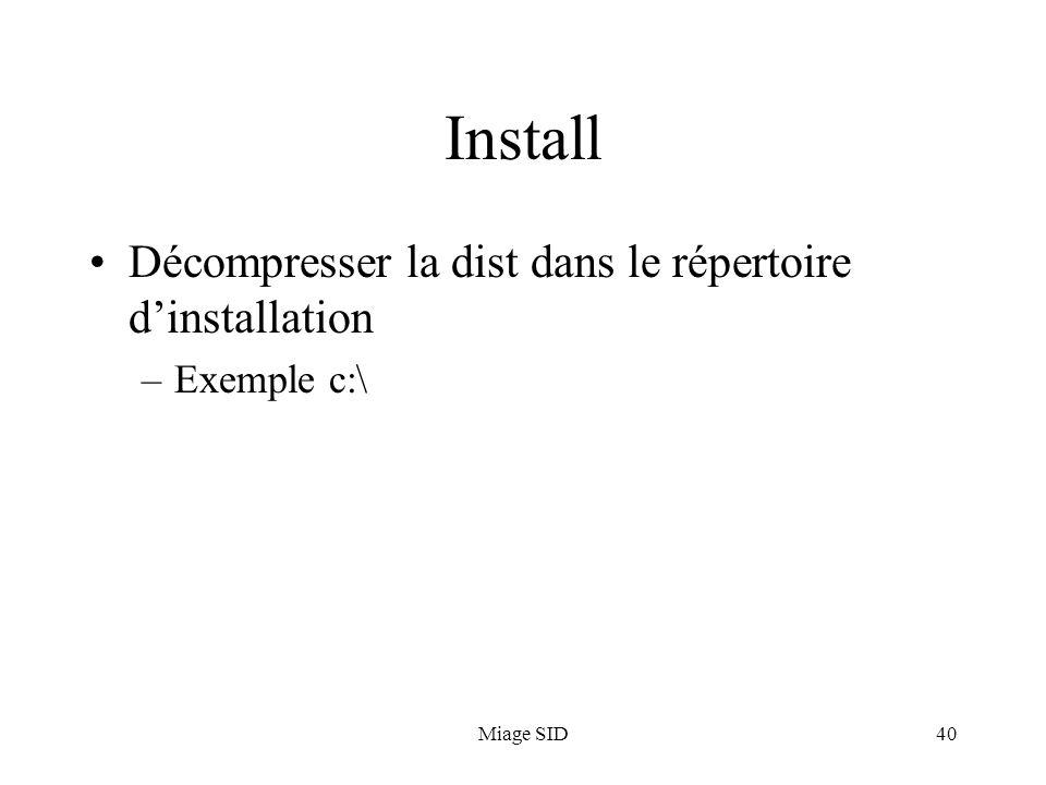 Miage SID40 Install Décompresser la dist dans le répertoire dinstallation –Exemple c:\
