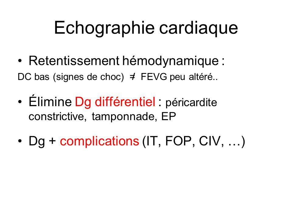 Echographie cardiaque Retentissement hémodynamique : DC bas (signes de choc) = FEVG peu altéré..