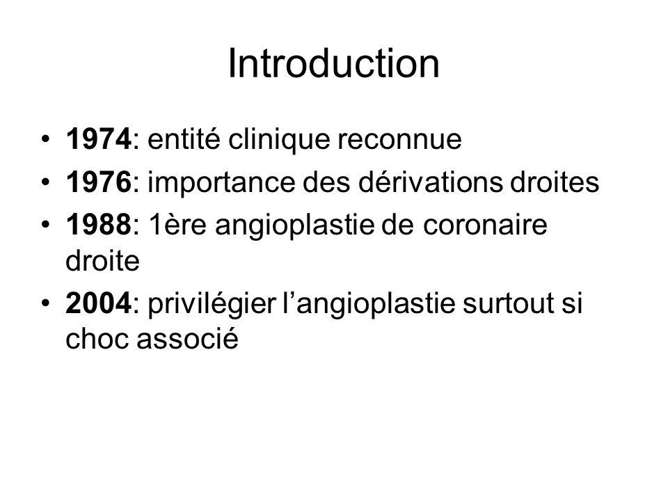 Introduction 1974: entité clinique reconnue 1976: importance des dérivations droites 1988: 1ère angioplastie de coronaire droite 2004: privilégier langioplastie surtout si choc associé
