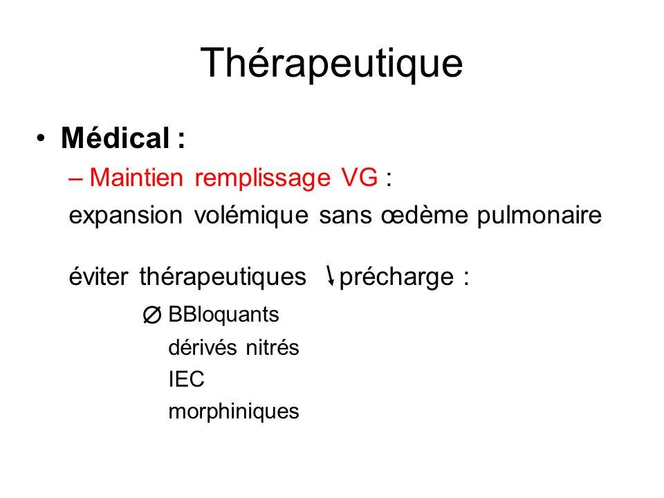 Thérapeutique Médical : –Maintien remplissage VG : expansion volémique sans œdème pulmonaire éviter thérapeutiques précharge : BBloquants dérivés nitrés IEC morphiniques