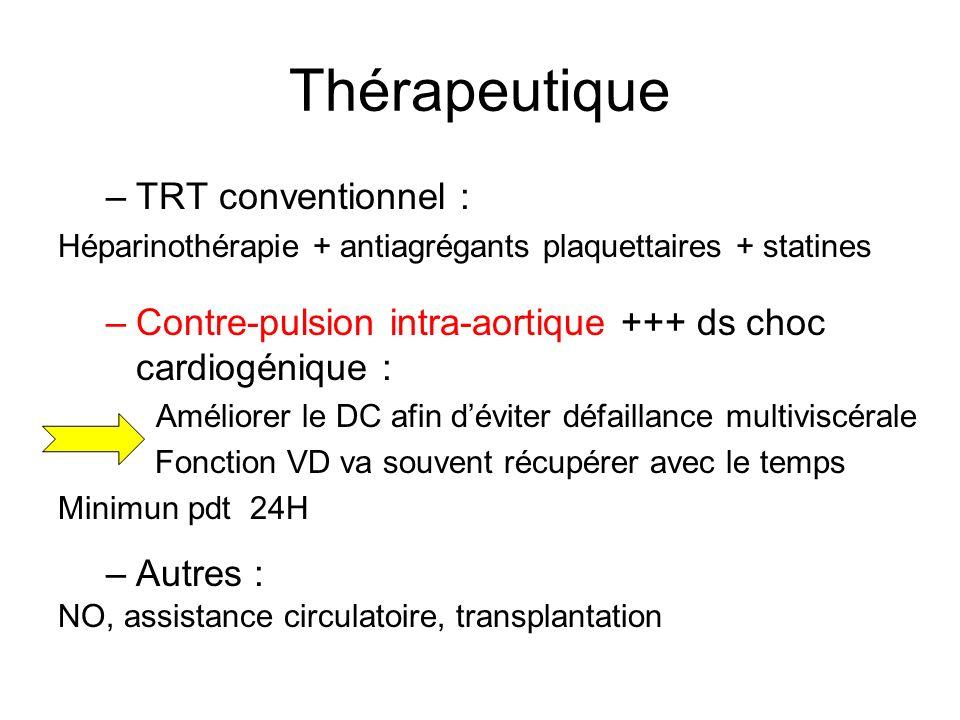 Thérapeutique –TRT conventionnel : Héparinothérapie + antiagrégants plaquettaires + statines –Contre-pulsion intra-aortique +++ ds choc cardiogénique : Améliorer le DC afin déviter défaillance multiviscérale Fonction VD va souvent récupérer avec le temps Minimun pdt 24H –Autres : NO, assistance circulatoire, transplantation